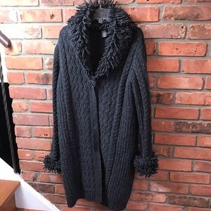 IB Diffusion Long Sweater Coat Vintage 90s Cardigan Wool Cable Knit Cozy Warm